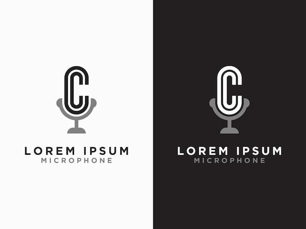 Шаблон логотипа и первоначальный дизайн микрофона буквы cc