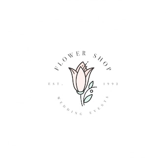 Шаблон логотипа - цветочный бутик - цветок лилии. логотип в модном линейном стиле.