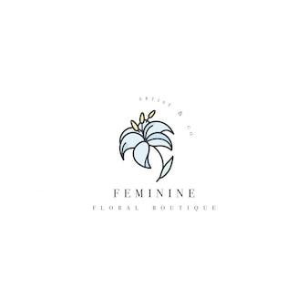 템플릿 로고-꽃 부티크 백합 꽃. 유행 선형 스타일의 로고.