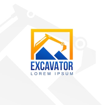 Template for logo with excavator