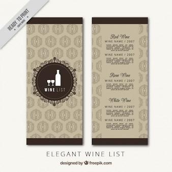 Modello di carta dei vini di lusso