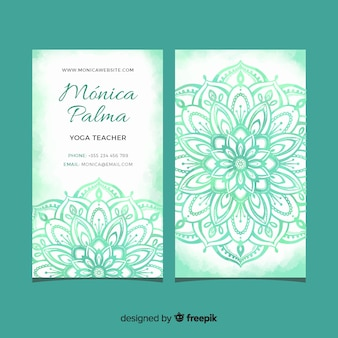 Template mandala watercolor business card