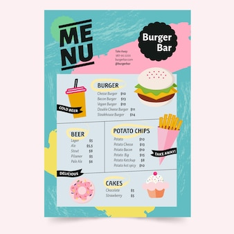 Template for menu restaurant with colorful concept