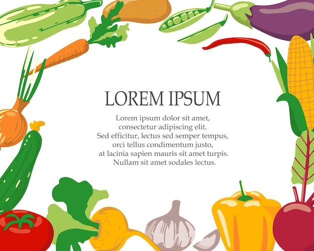 Template for menus or invitations of different vegetables
