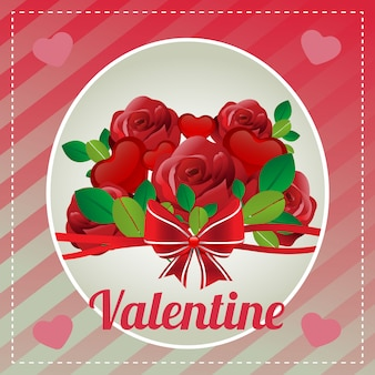 Template merry valentine card with love red rose