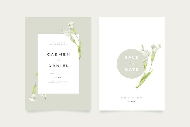 Template minimalistic elegant floral wedding invitation
