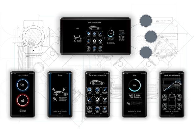 Шаблон мобильного приложения, для управления и диагностики автомобилей, сервисного приложения для диагностики,