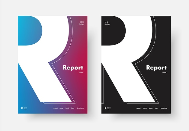 Template of a modern annual report cover with the silhouette of the letter r