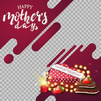 Template mother's day background with neon lines