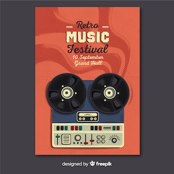Template music poster retro
