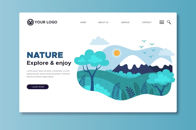 Template nature hand drawn landing page