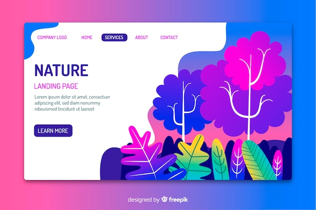 Template of nature landing page