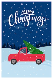 Template for a new year, christmas greeting card with a handwritten inscription merry christmas.