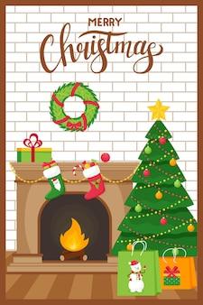 템플릿 새 해, 단어 메리 크리스마스 크리스마스 인사말 카드.