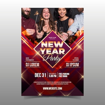 Template new year party flyer with photo