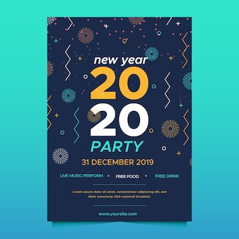 Template new year party poster in outline style