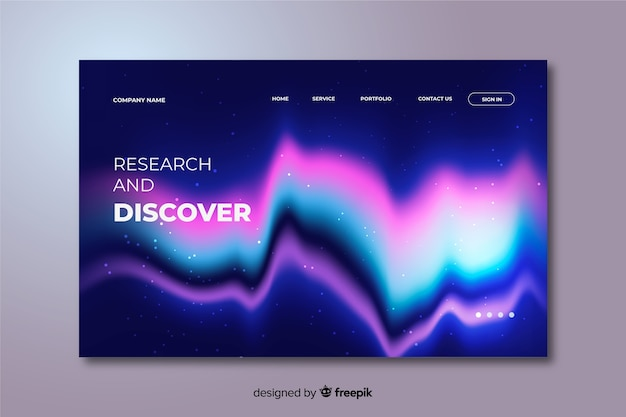 Template northern lights landing page