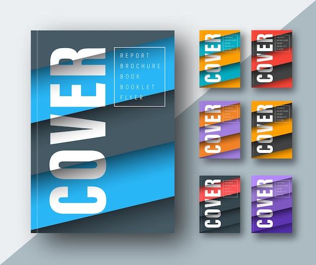 Шаблон современной обложки с диагональными цветными плавающими листами в воздухе в материальном дизайне.