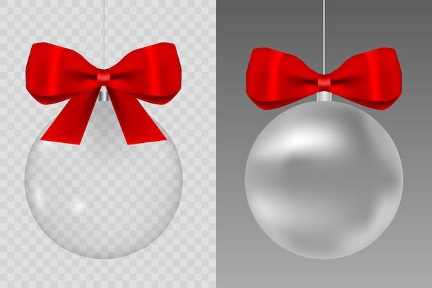 空のガラス透明ボールのテンプレート。クリスマスのおもちゃ。赤い絹のリボンが付いているガラスグローブ。