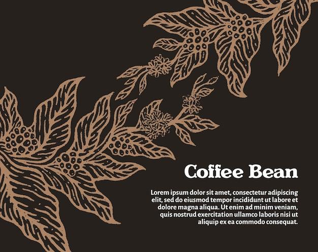 잎 꽃과 천연 커피 콩이 있는 커피 나무의 황금 가지 템플릿