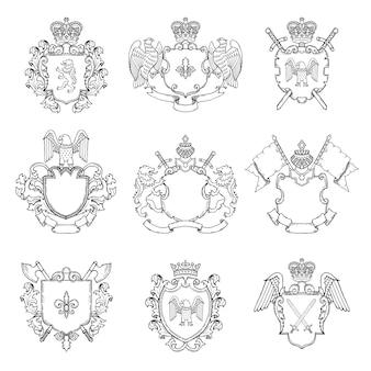 紋章のテンプレート。ロゴまたはバッジ用のさまざまな空のフレーム。剣とワシのイラストと紋章バッジヴィンテージ