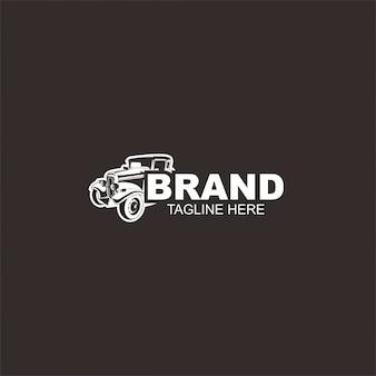 ホットロード車のロゴ、レトロなロゴスタイル、ビンテージロゴのテンプレート。すべての自動車産業に最適です。
