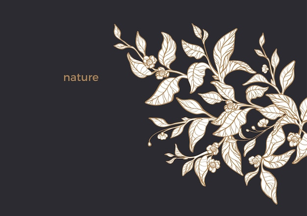 お茶の有機自然枝のテンプレート。葉、花をスケッチします。アートデザイン