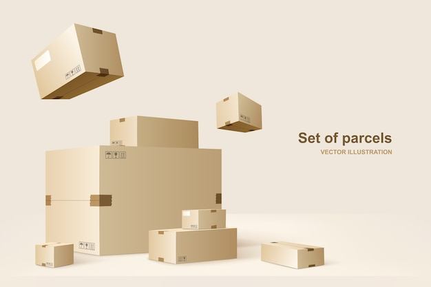 Шаблон пакетов. картонные коробки для упаковки и транспортировки товаров. иллюстрация концепции.