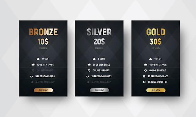Шаблон векторных таблиц цен премиум-класса на черном фоне с ромбами. дизайн баннеров из бронзы, серебра и золота для сайтов. набор