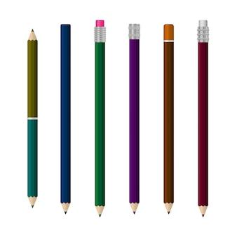 さまざまな角度で現実的なマルチカラープラスチックペンのテンプレート。白い背景に分離された現実的なライティングペンのセット。 3d色の学校の文房具。