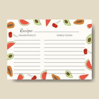 인쇄 가능한 과일 일러스트 배경이 있는 레시피 카드 템플릿