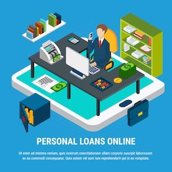 銀行員の職場でのタブレットと事務室のテンプレート
