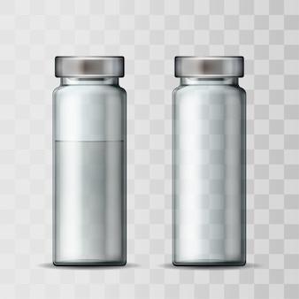 알루미늄 캡이 달린 투명 유리 의료 유리 병의 템플릿. 빈 유리 앰플과 백신 또는 약물 치료를 위해 앰플. 주입을위한 약제가있는 병의 현실적인 3d 모형.