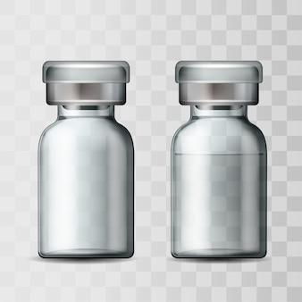 アルミキャップ付き透明ガラス医療バイアルのテンプレート。空のガラスアンプルとワクチンまたは治療薬を含むアンプル。注射用医薬品を使用したボトルのリアルな3dモックアップ。