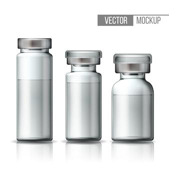 アルミキャップ付き透明ガラス医療バイアルのテンプレート。ワクチンまたは治療薬を含むアンプルのセット。注射用医薬品を使用したボトルのリアルな3dモックアップ。