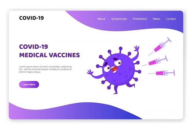 ワクチンから実行されているコロナウイルスcovid-19キャラクターのウェブサイトのテンプレート、ウイルス学診断サイトのランディングページのワイヤフレームネオンカラー。