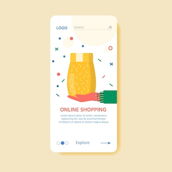 Template for online delivery service concept with carton packages and delivery icons. web page with postal parcels, packs, boxes, letters, envelopes. vector landing page