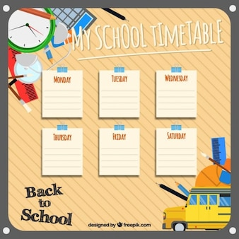 Template for organizing school subjects