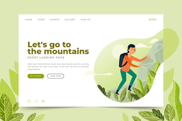 Template outdoor sport landing page