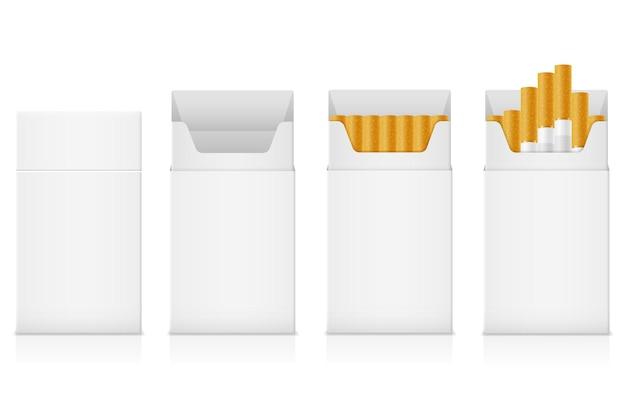 Template pack of cigarettes with yellow filter on white