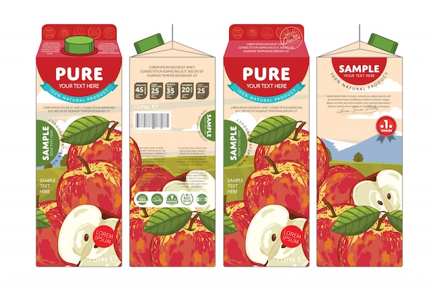 Template packaging design apple juice
