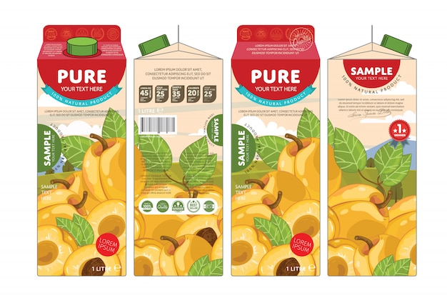 Template packaging design apricot juice