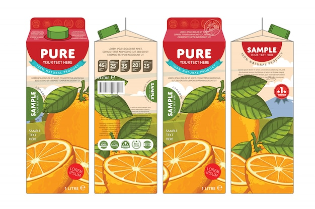 Template packaging design orange juice