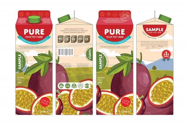 Template packaging design passion fruit juice