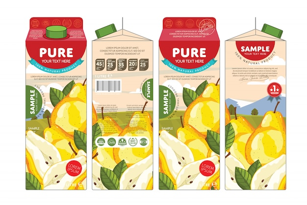 Template packaging design pear juice