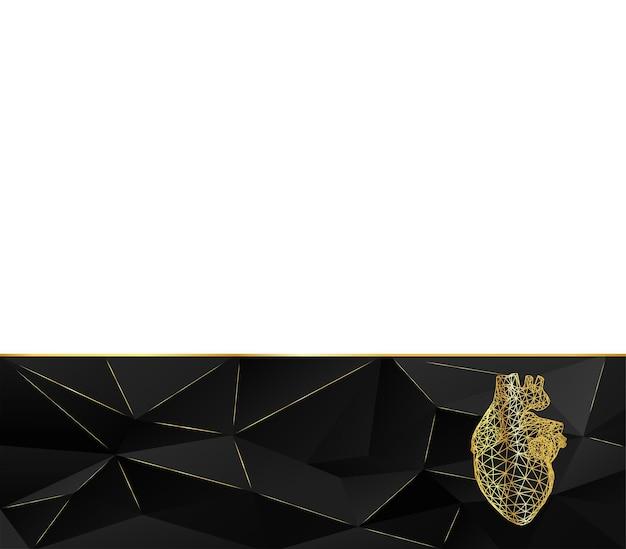 テンプレートページデザインラインからのゴールデンハート多角形のデザインスタイル