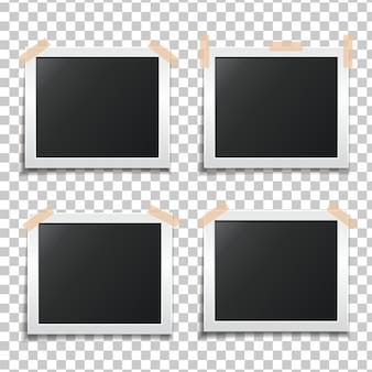 Набор шаблонов бумажных фоторамок. шаблон для ваших дизайнерских работ. фото наклеено на скотч. иллюстрация