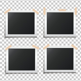 Template paper photo frame set. template for your design works. photo glued on scotch tape. illustration