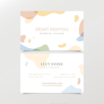 Template pastel-colored stains abstract business card