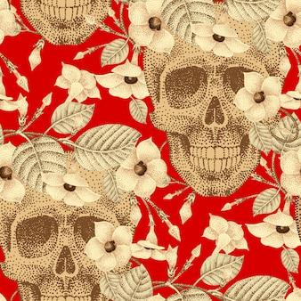 人間の頭蓋骨とシームレスな花のテンプレートパターン